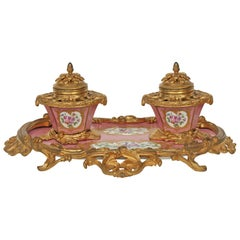 Early 19th Century French Louis XV Style Porcelain and Ormolu Mounted Inkwell