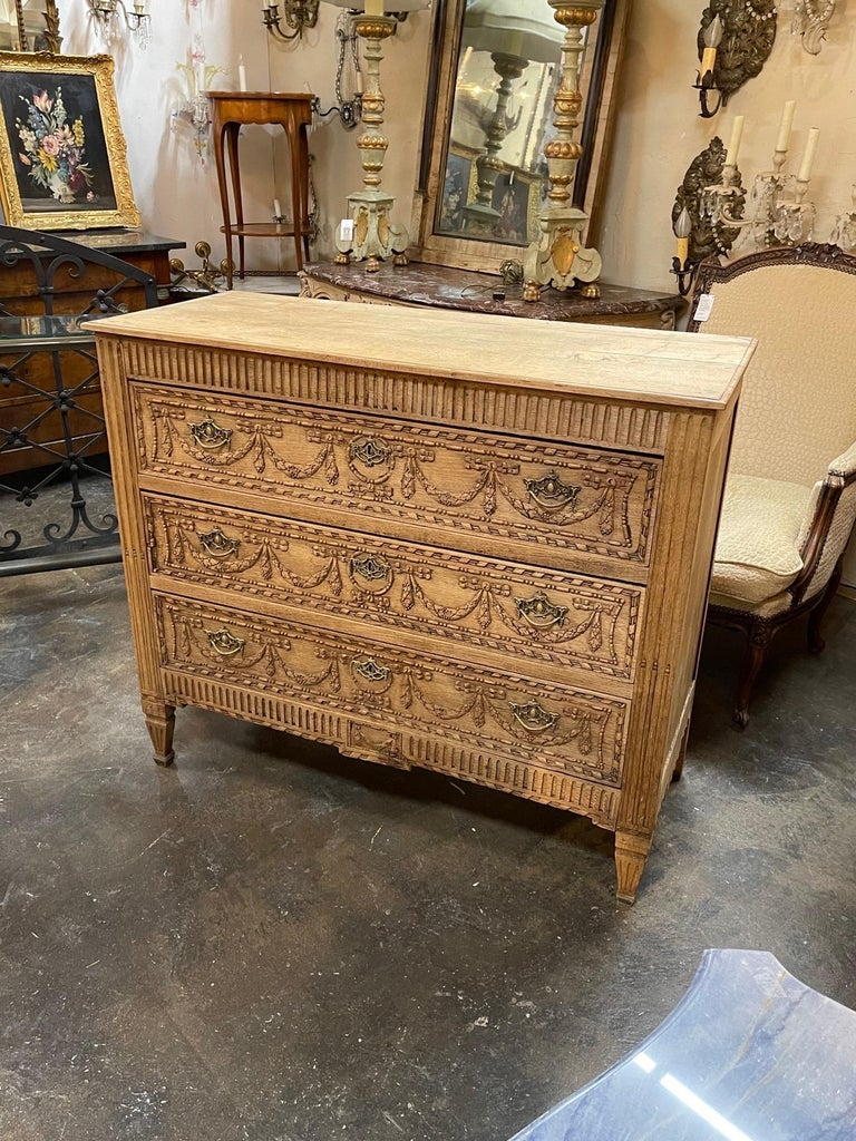 Early 19th Century French Louis XVI Style Bleached Commode For Sale 3