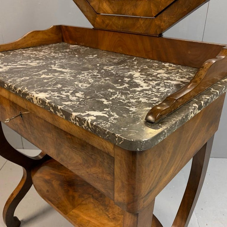 Regency Early 19th Century French Mahogany and Marble-Top Dressing Table with a Drawer For Sale