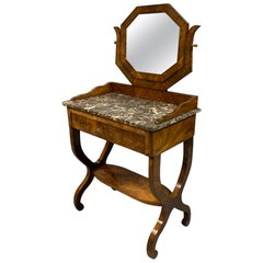 Early 19th Century French Mahogany and Marble-Top Dressing Table with a Drawer