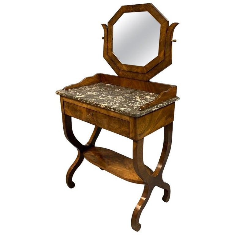 Early 19th Century French Mahogany and Marble-Top Dressing Table with a Drawer For Sale