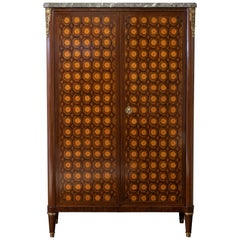 Early 19th Century French Marquetry Tall Cabinet, Marble Top, Brass Details