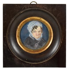 Early 19th Century French Miniature Portrait, Woman in Lace Cap and Collar