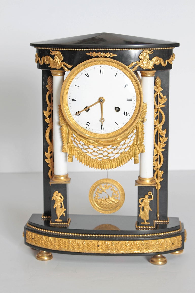 Marble Early 19th Century French Neoclassic Clock For Sale