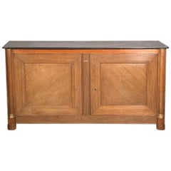 Early 19th Century French Oak Empire Sideboard with a Slate Top