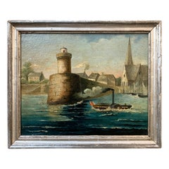 Early 19th Century French Oil Painting of Steamboat in a River Harbor Scene