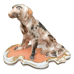 Early 19th Century French Old Paris Porcelain Seated Dog