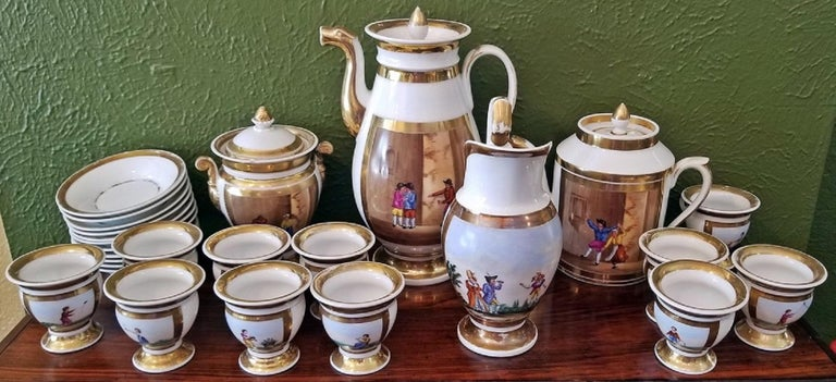 Napoleon III Early 19th Century French Old Paris Porcelain Tea and Chocolate Set For Sale