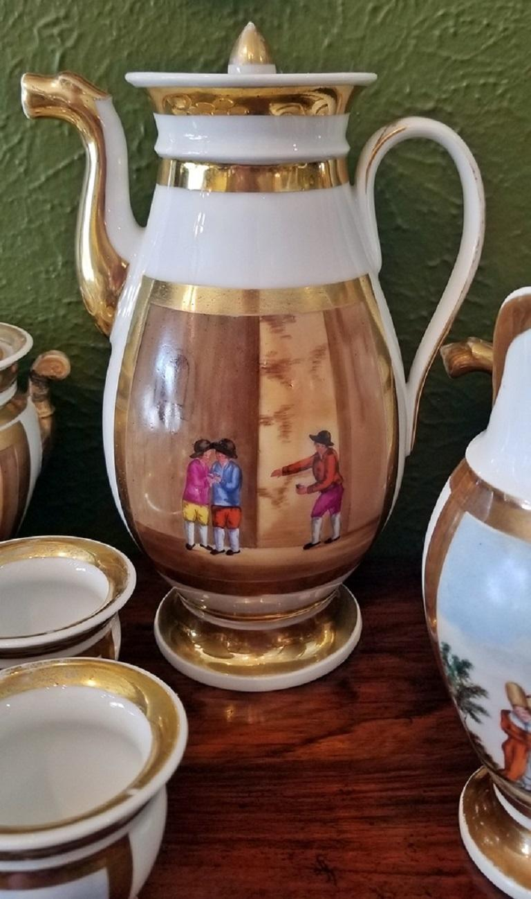 Hand-Painted Early 19th Century French Old Paris Porcelain Tea and Chocolate Set For Sale