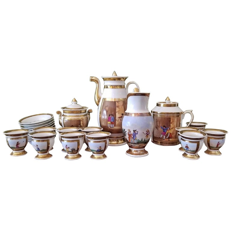 Early 19th Century French Old Paris Porcelain Tea and Chocolate Set For Sale