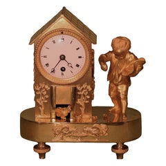 Early 19th Century French Ormolu Mantel Hen House Clock