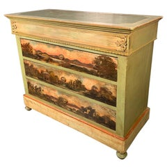 Early 19th Century French Painted Commode Chest of Drawers