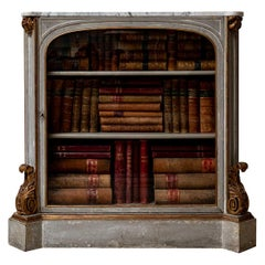 Early 19th Century French Painted Glazed Cabinet Bookcase with Original Marble