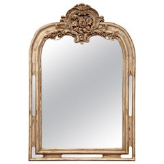 Early 19th Century French Regency Carved Painted and Gilt Oak Mirror from Lyon