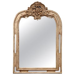 Early 19th Century French Régence Carved Painted and Gilt Oak Mirror from Lyon