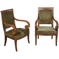 Early 19th Century French Restauration Period Walnut Armchairs, Bergeres, Mohair