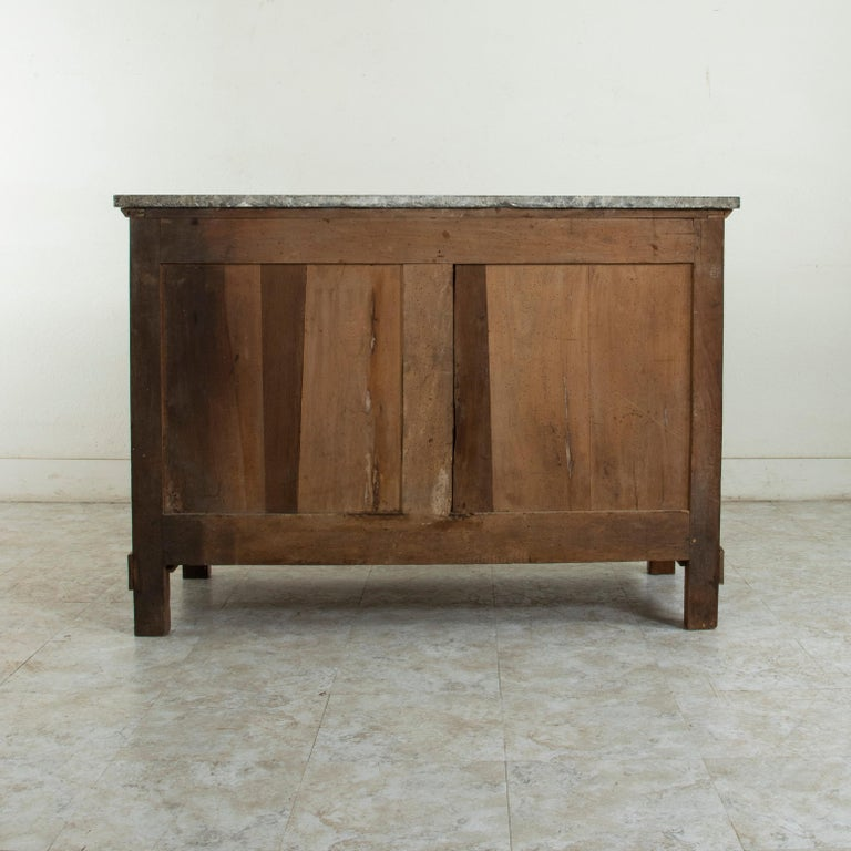 Early 19th Century French Restauration Period Walnut Commode, Chest, Marble Top For Sale 2