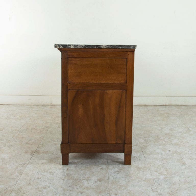 Early 19th Century French Restauration Period Walnut Commode, Chest, Marble Top For Sale 3