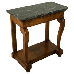 Early 19th Century French Restauration Period Walnut Console Table, Marble Top