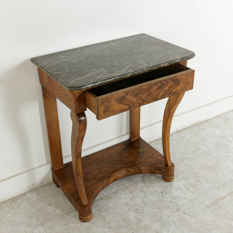 Early 19th Century French Restauration Period Walnut Console Table with Marble For Sale 7