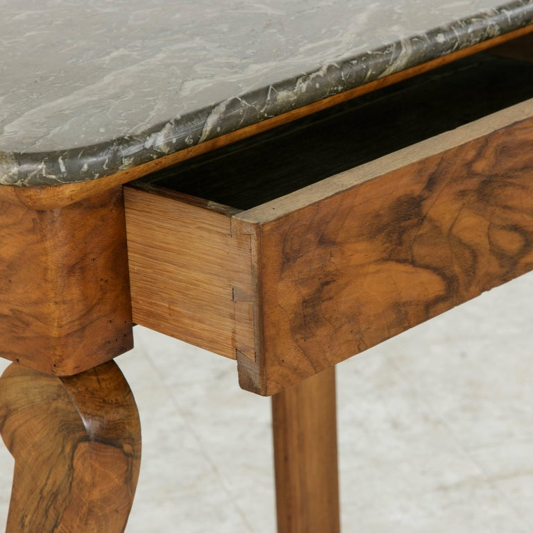 Early 19th Century French Restauration Period Walnut Console Table with Marble For Sale 8