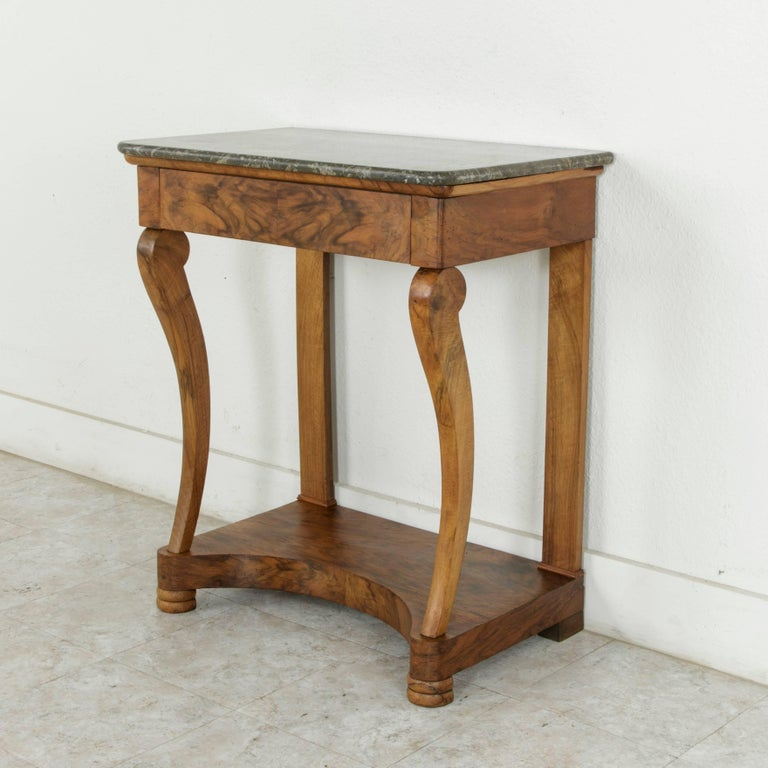 Early 19th Century French Restauration Period Walnut Console Table with Marble For Sale 1