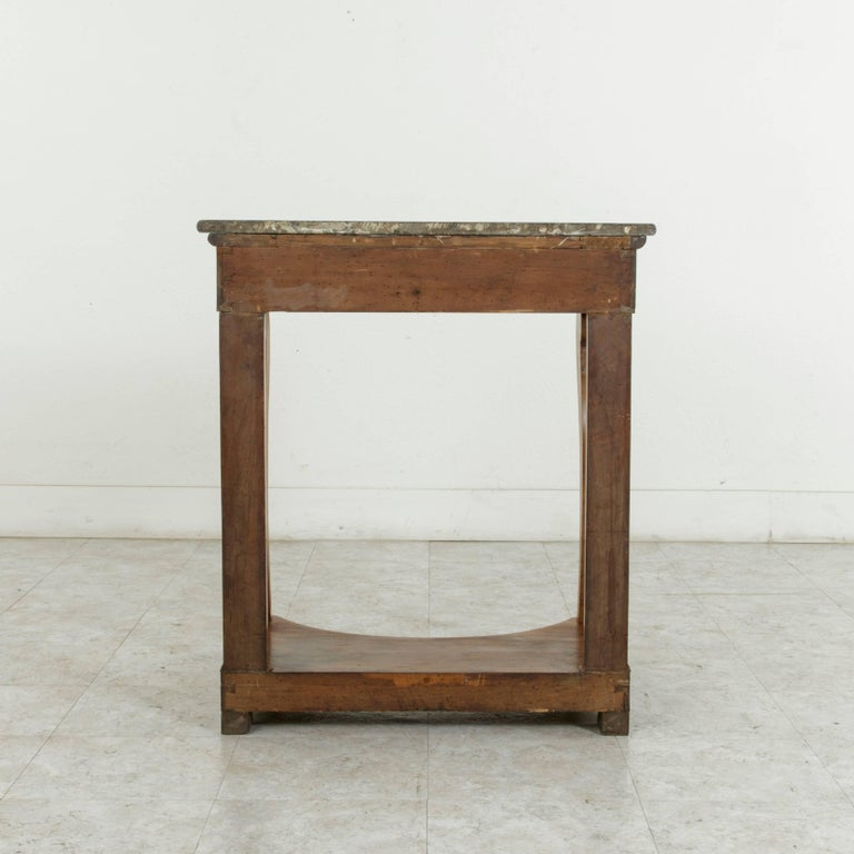 Early 19th Century French Restauration Period Walnut Console Table with Marble For Sale 3