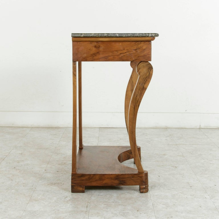 Early 19th Century French Restauration Period Walnut Console Table with Marble For Sale 4