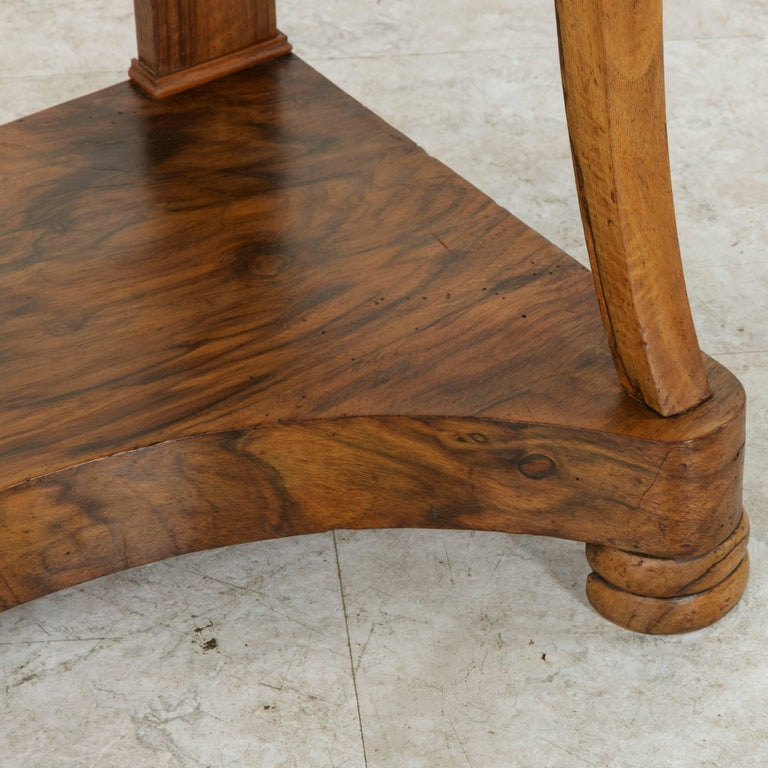 Early 19th Century French Restauration Period Walnut Console Table with Marble For Sale 6