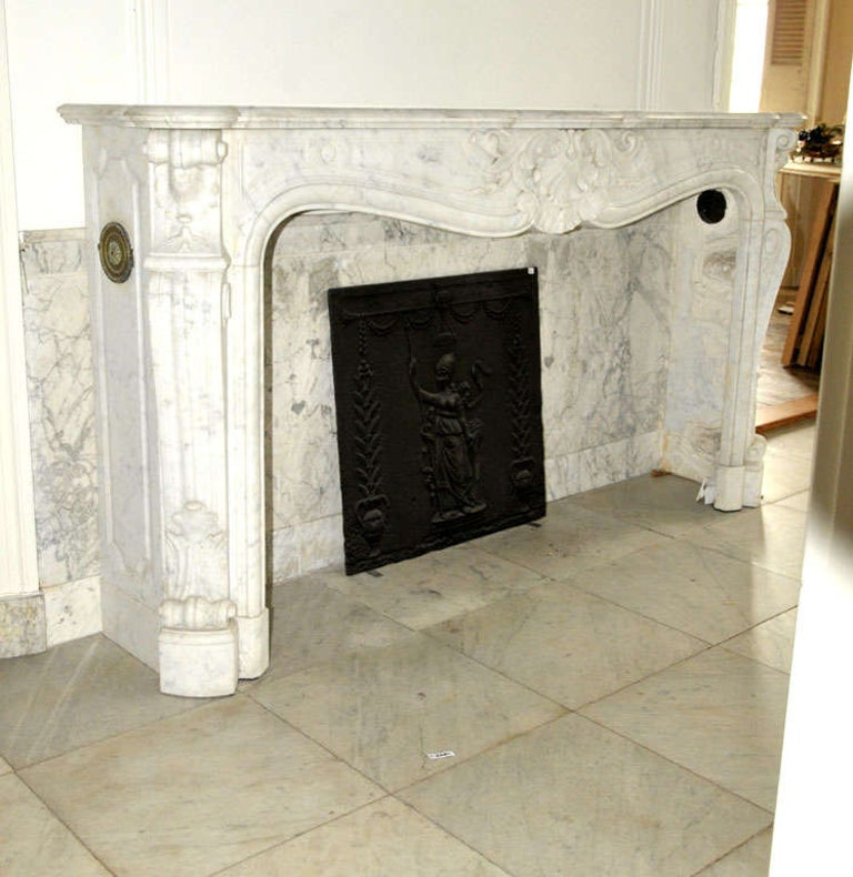 Louis XV Early 19th Century French Rococo White Carrara Marble Grand Mantel Piece For Sale
