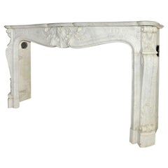 Early 19th Century French Rococo White Carrara Marble Grand Mantel Piece