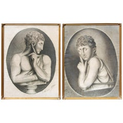Early 19th Century French Salon Portrait Drawings, a Pair