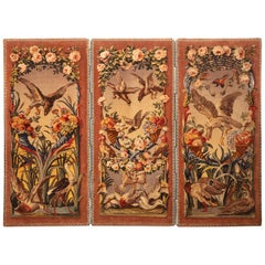 Early 19th Century French Savonnerie Three-Panel Room Divider, Aubusson Original