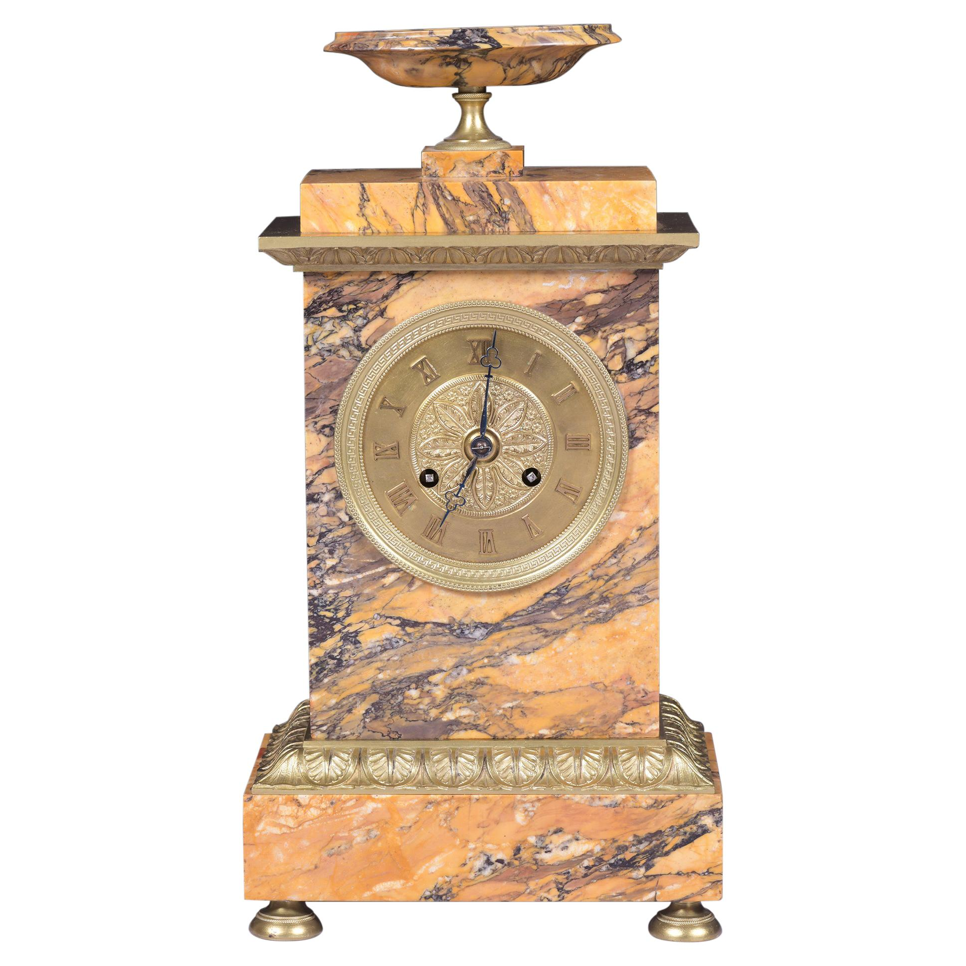 Early 19th Century French Sienna Marble Mantle Clock