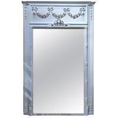 Early 19th Century French Trumeau Mirror in Powder Blue