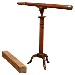 Early 19th Century French Walnut and Brass Telescope Signed Vincent Chevalier