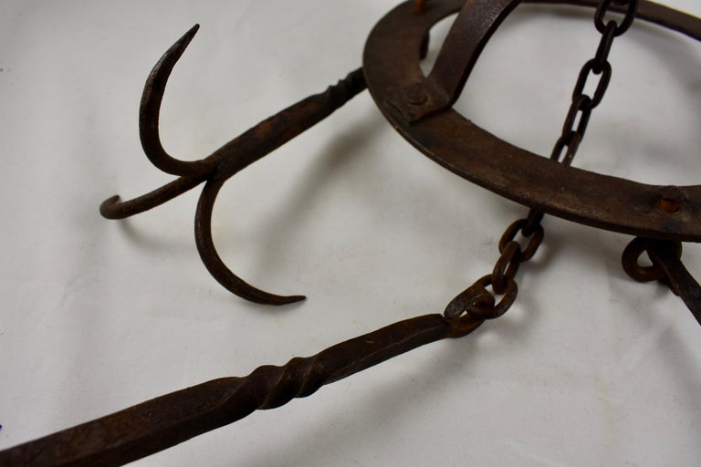Early 19th Century French Wrought Iron Hanging Butchers Rack, Pot Rack For Sale 5
