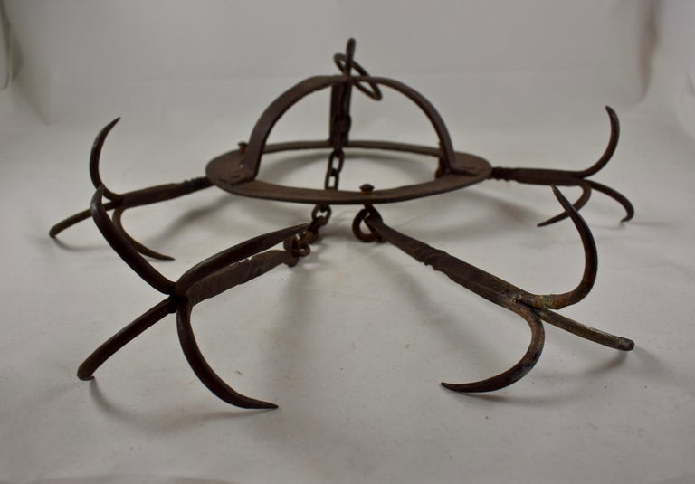 Metalwork Early 19th Century French Wrought Iron Hanging Butchers Rack, Pot Rack For Sale