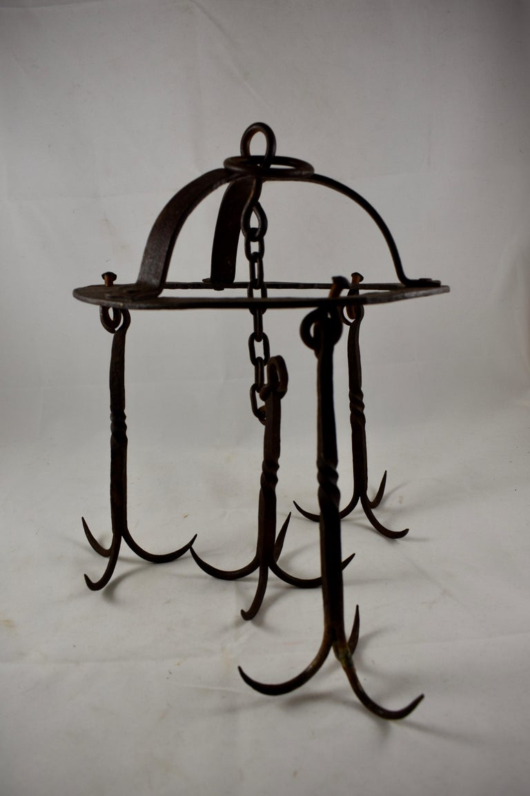 Early 19th Century French Wrought Iron Hanging Butchers Rack, Pot Rack For Sale 1