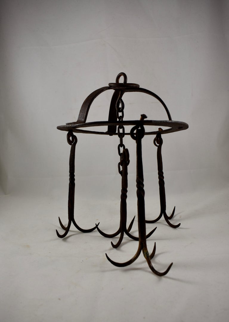 Early 19th Century French Wrought Iron Hanging Butchers Rack, Pot Rack For Sale 3