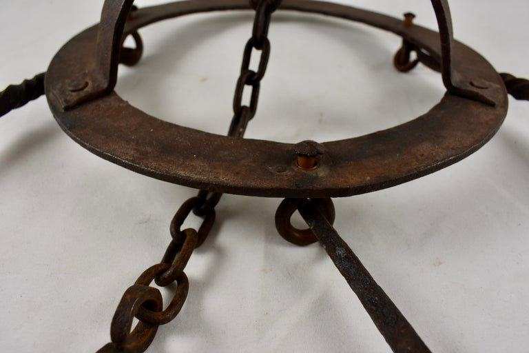 Early 19th Century French Wrought Iron Hanging Butchers Rack, Pot Rack For Sale 4