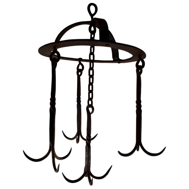 Early 19th Century French Wrought Iron Hanging Butchers Rack, Pot Rack For Sale