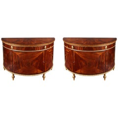 Late 18th Century George III Pair of Demilune Commodes