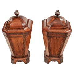 Early 19th Century George III Pair of Mahogany Knife Urns