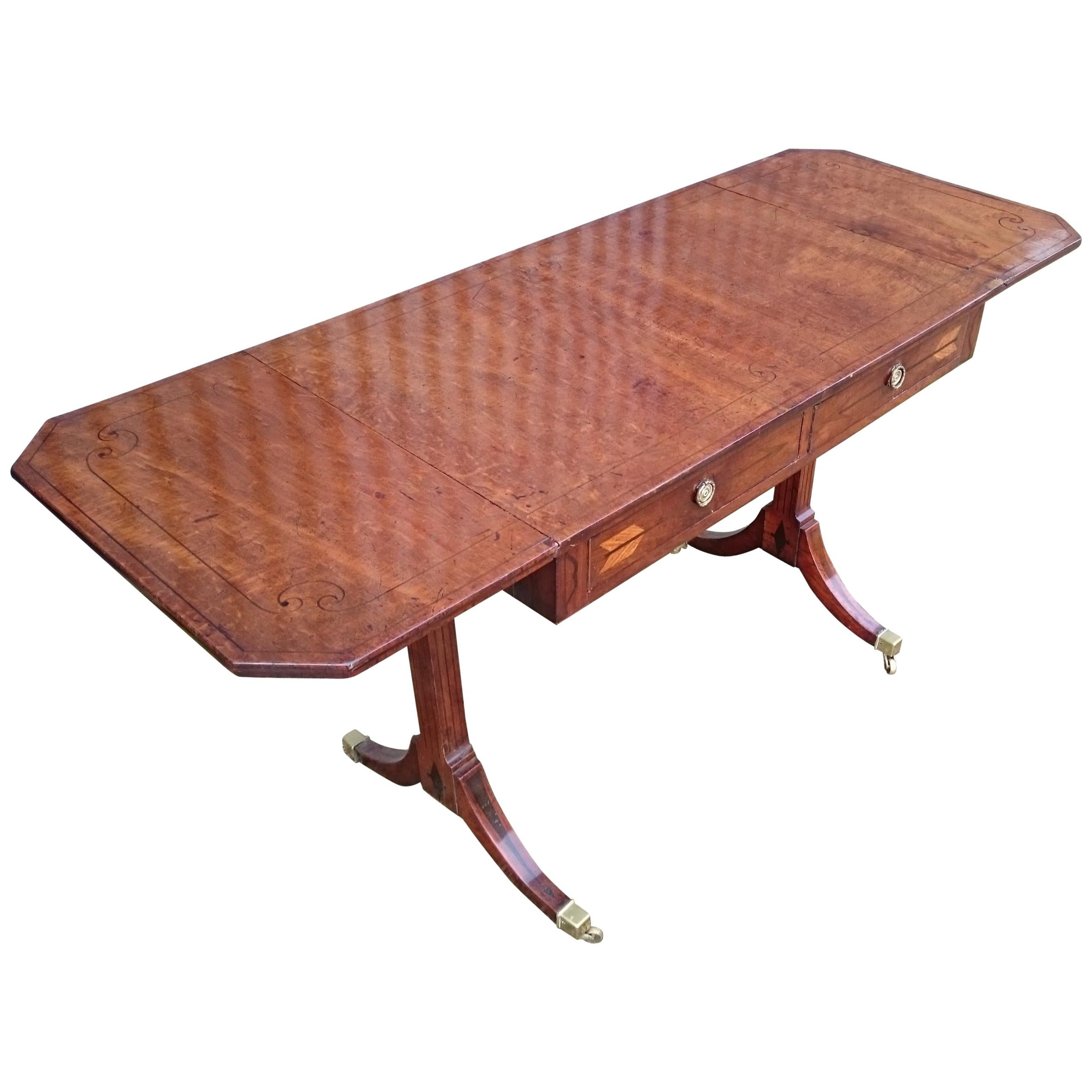 Early 19th Century George III Period Mahogany Antique Sofa Table