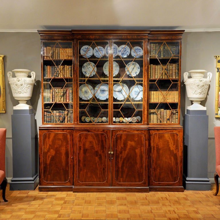 George III Early 19th Century Georgian Breakfront Bookcase, Stamped Gillows of Lancaster For Sale