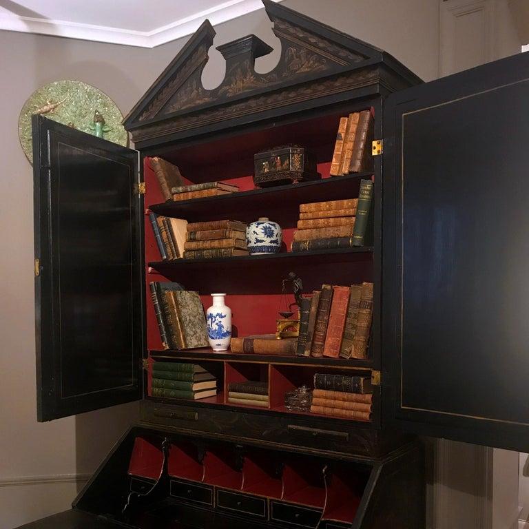 Early 19th Century Georgian Chinoiserie Bureau Bookcase For Sale 1