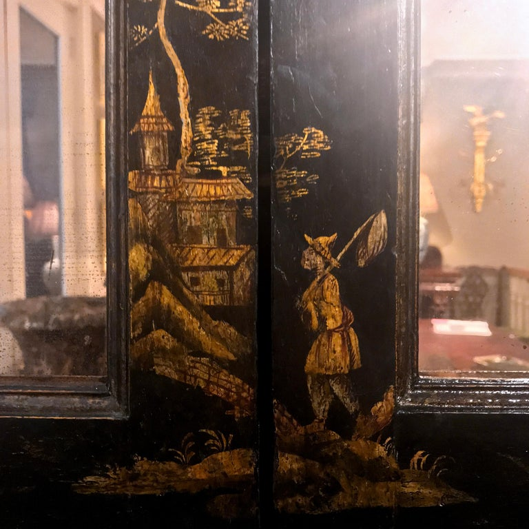 Early 19th Century Georgian Chinoiserie Bureau Bookcase For Sale 3