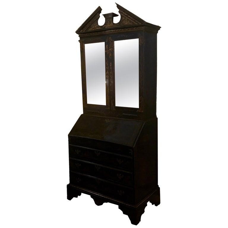 Early 19th Century Georgian Chinoiserie Bureau Bookcase For Sale
