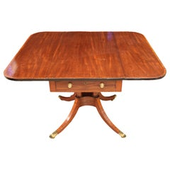 Early 19th Century Georgian Inlaid Mahogany Pedestal Drop-Leaf Table